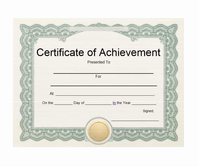 Certificate Of Achievement Template Free New 40 Great Certificate Of Achievement Templates Free
