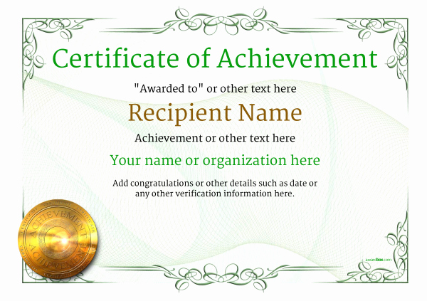 Certificate Of Achievement Template Free New Certificate Of Achievement Free Templates Easy to Use