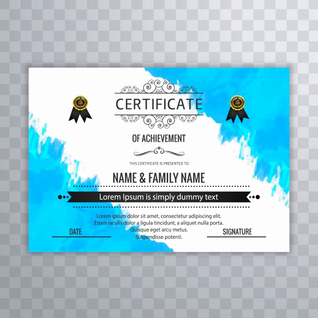 Certificate Of Achievement Template Free New Certificate Of Achievement Watercolor Template Vector