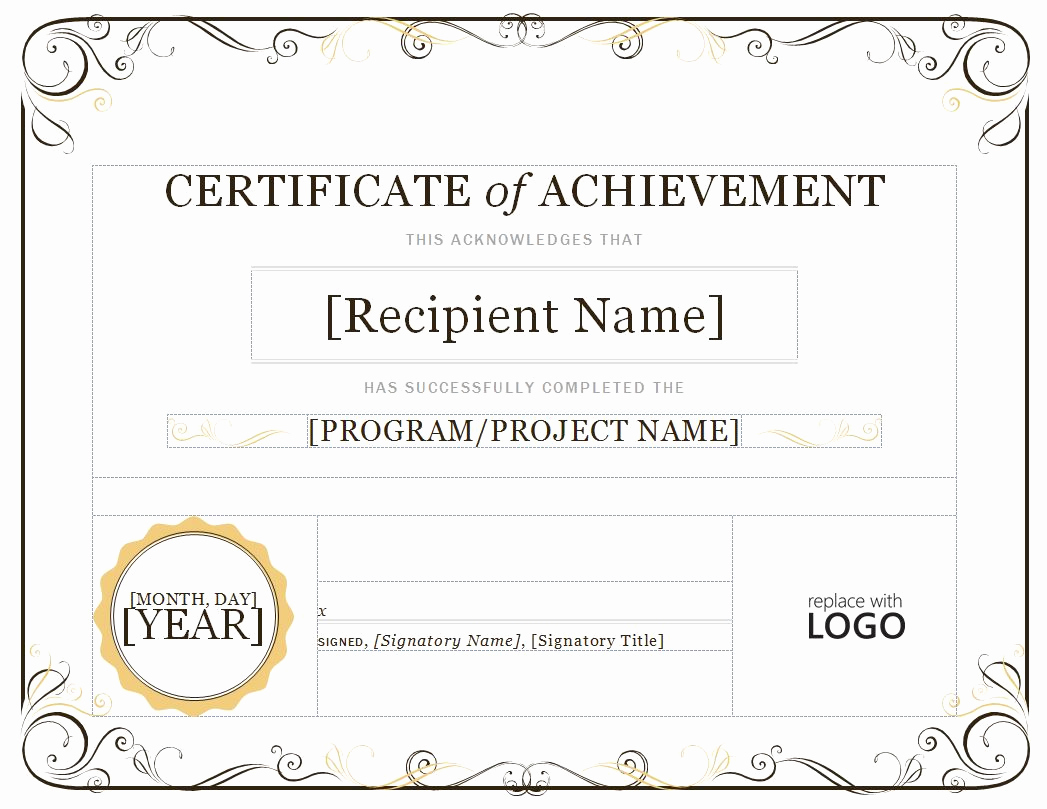 Certificate Of Achievement Template Free Unique Certificate Of Achievement