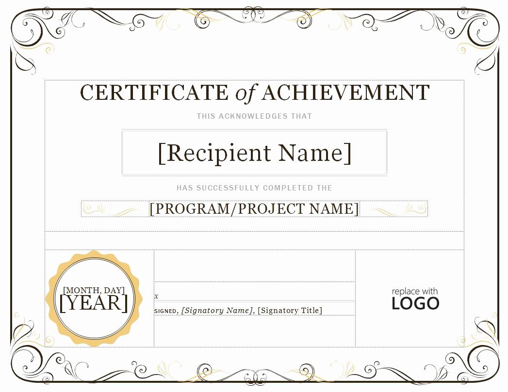 Certificate Of Achievement Template Free Unique Certificate Of Achievement