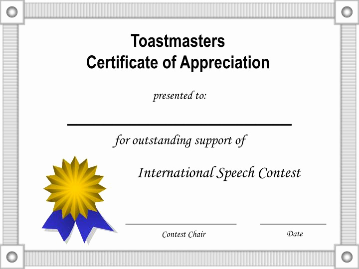 Certificate Of Appreciation Template Powerpoint Elegant Ppt toastmasters Certificate Of Appreciation Powerpoint