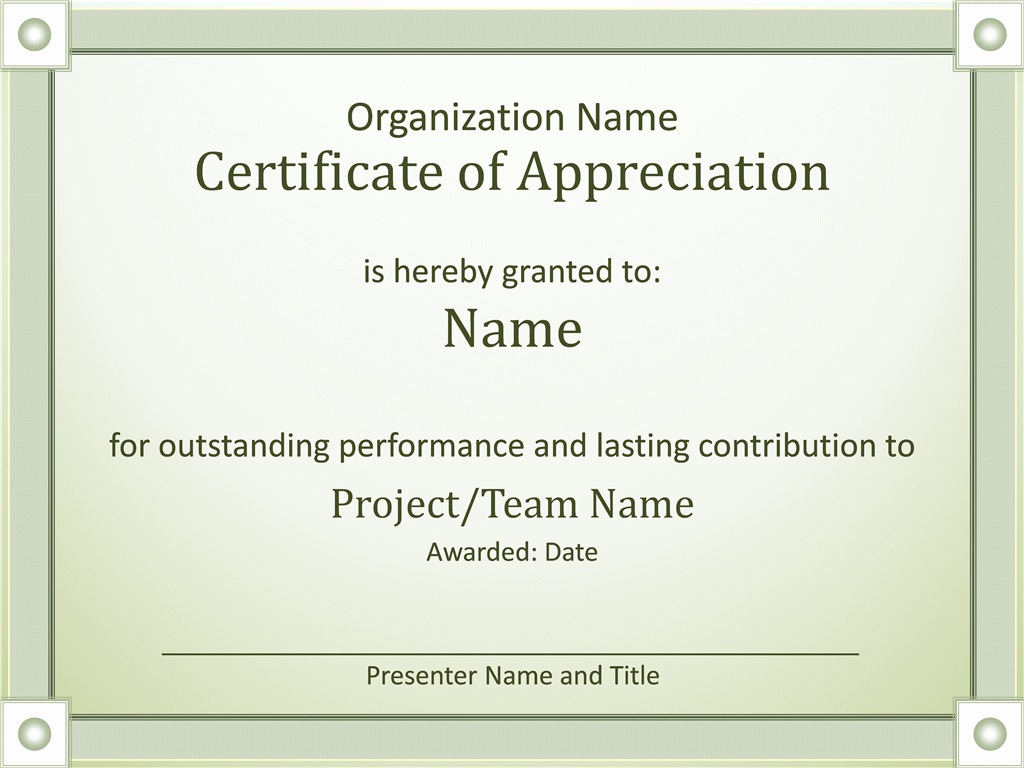 Certificate Of Appreciation Template Powerpoint New Certificates Fice