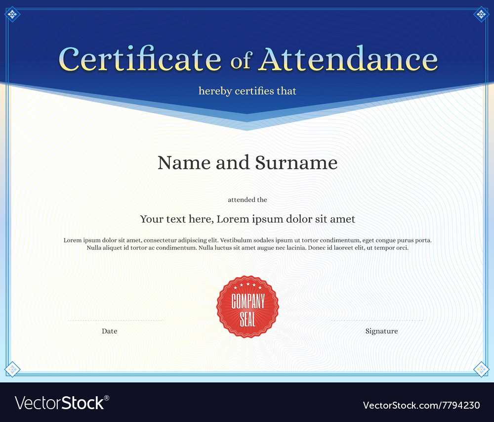 Certificate Of attendance Template Free Awesome Certificate Of attendance Template Blue Royalty Free Vector