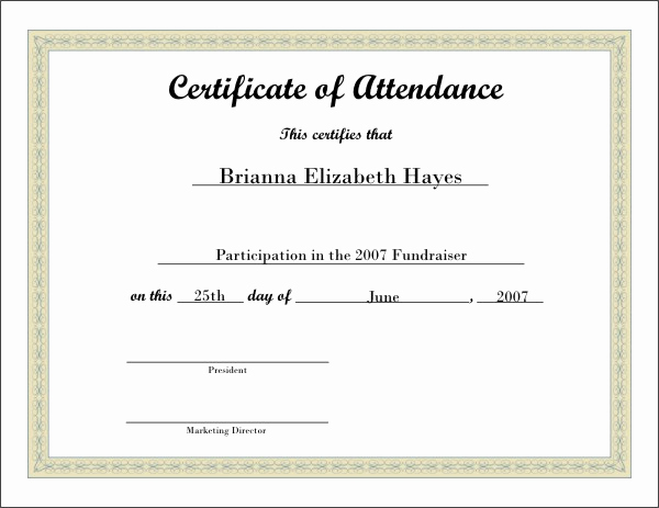 Certificate Of attendance Template Free Awesome Printable attendance Certificates
