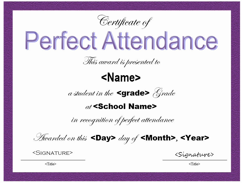 Certificate Of attendance Template Free Beautiful 13 Free Sample Perfect attendance Certificate Templates