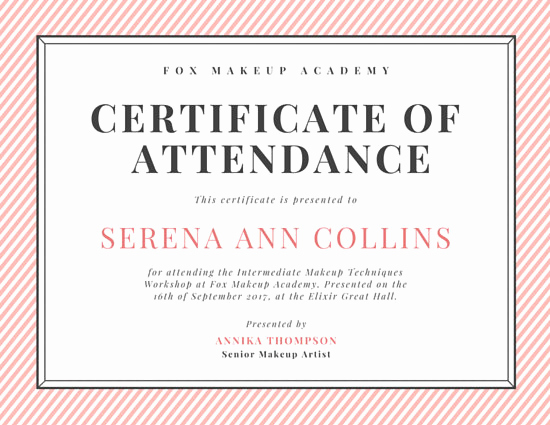 Certificate Of attendance Template Free Beautiful Customize 48 attendance Certificate Templates Online Canva