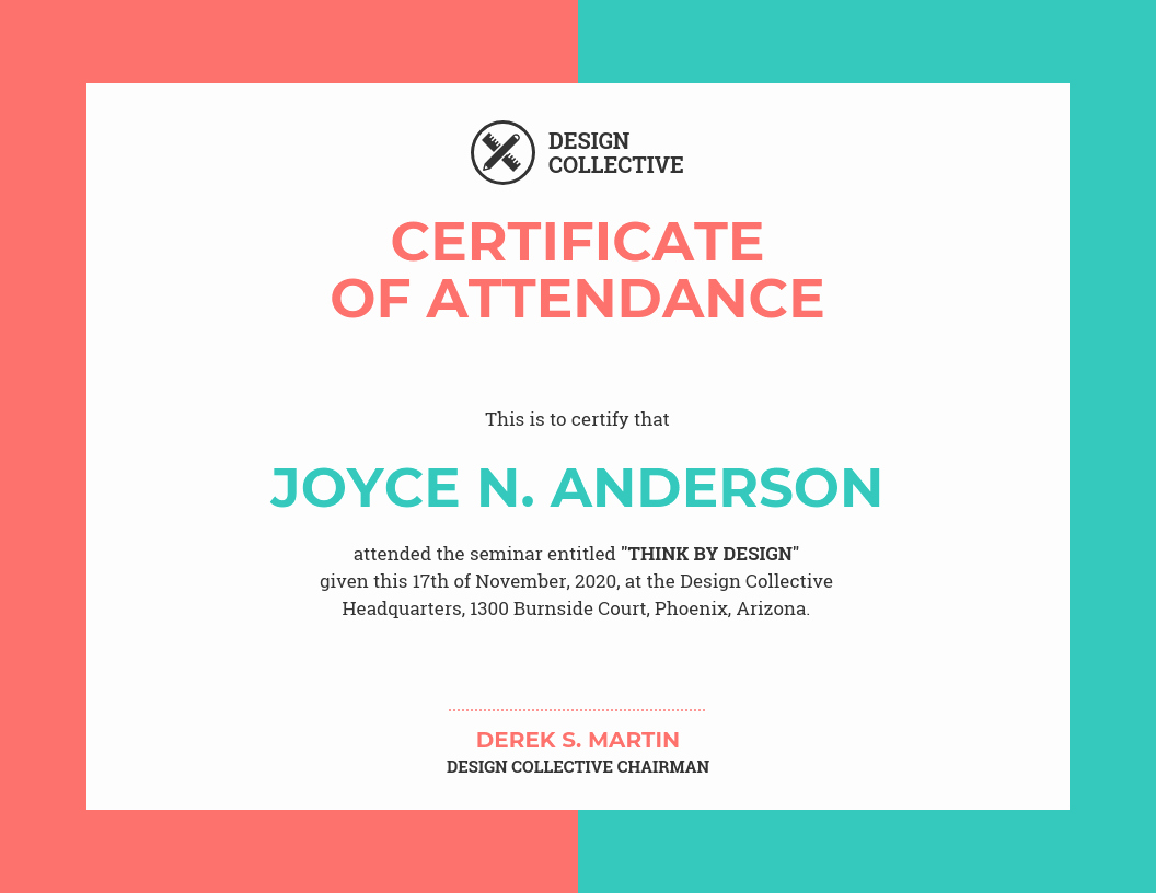 Certificate Of attendance Template Free Beautiful Vibrant Certificate Of attendance Template