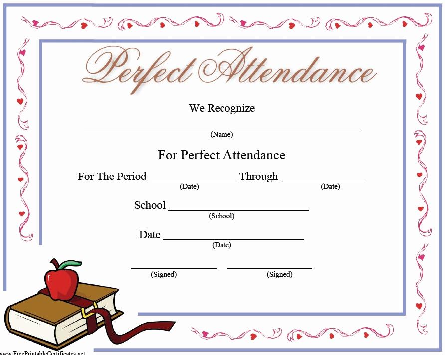 Certificate Of attendance Template Free Best Of 13 Free Sample Perfect attendance Certificate Templates