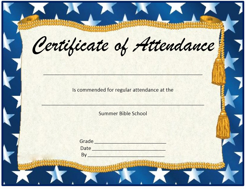 Certificate Of attendance Template Free Best Of 13 Free Sample Perfect attendance Certificate Templates