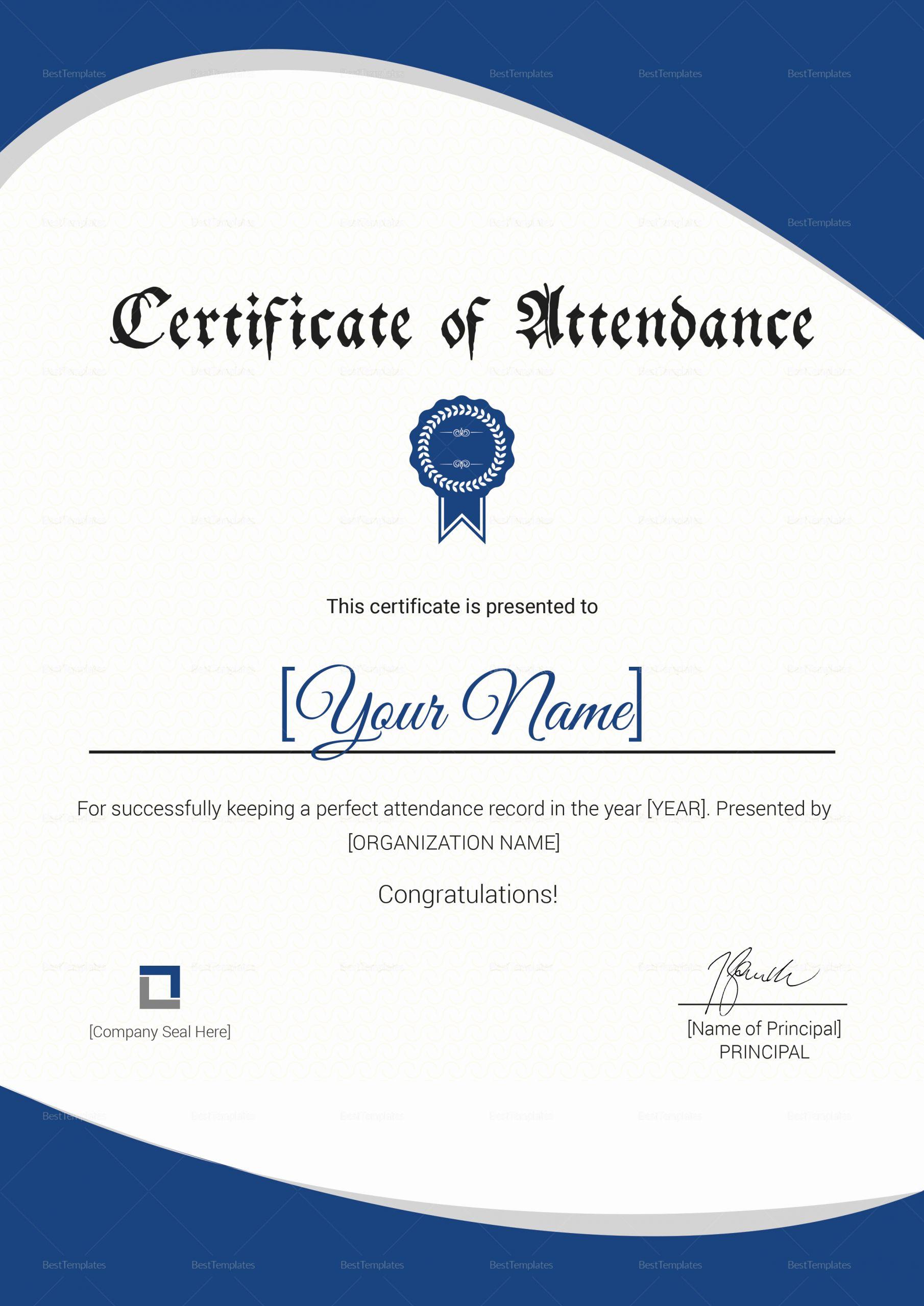 Certificate Of attendance Template Free Best Of attendance Certificate Design Template In Psd Word