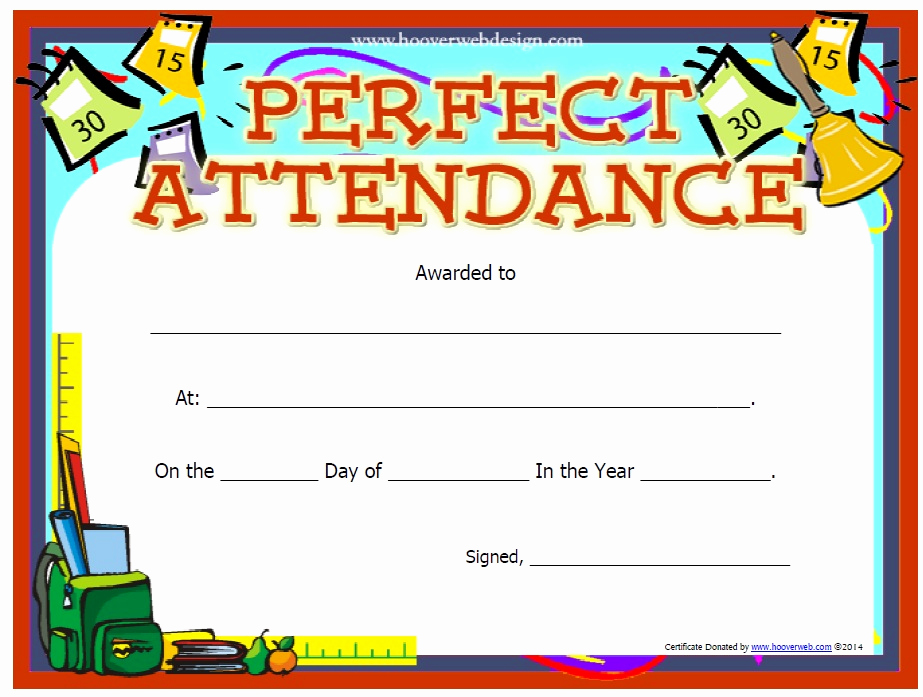 Certificate Of attendance Template Free Elegant 13 Free Sample Perfect attendance Certificate Templates