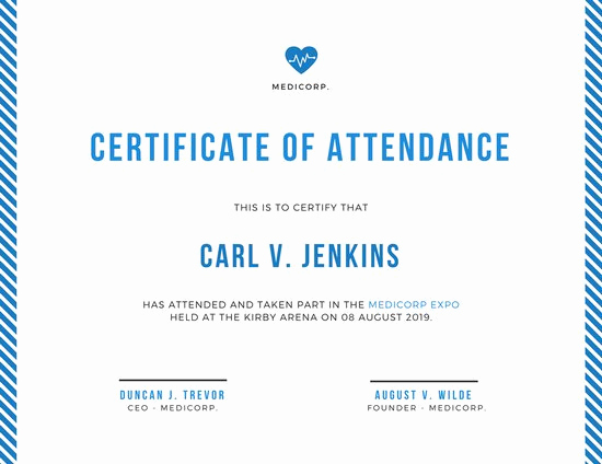 Certificate Of attendance Template Free Elegant Certificate attendance – Certificates Templates Free