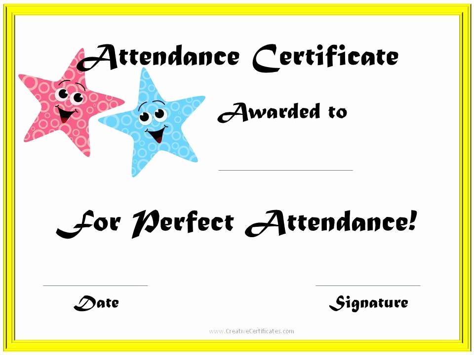 Certificate Of attendance Template Free Elegant School attendance Award