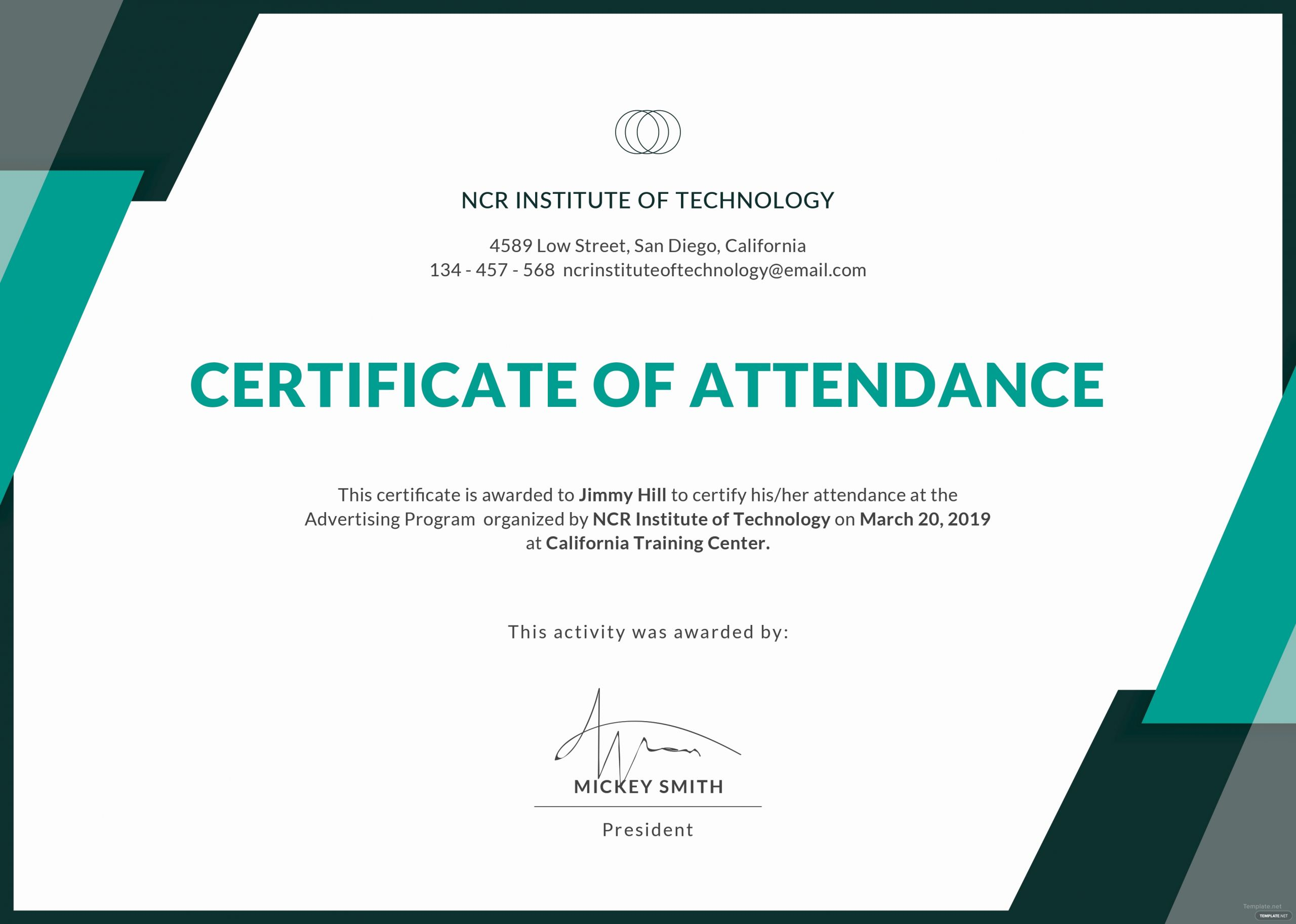 Certificate Of attendance Template Free Inspirational Certificate Templates Free Conference attendance