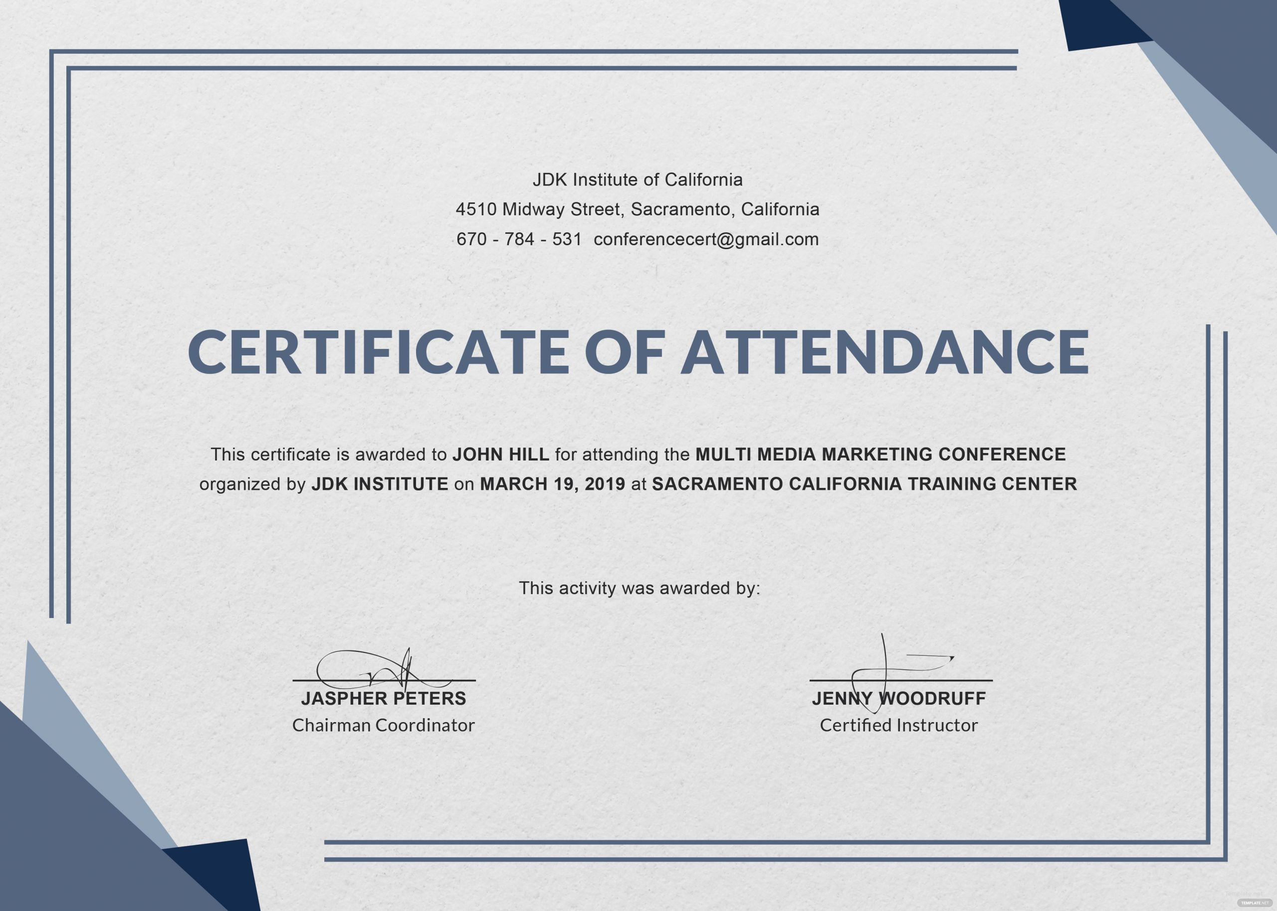 Certificate Of attendance Template Free Inspirational Certificate Templates Ms Word Perfect attendance