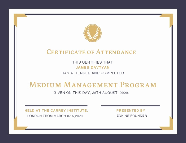 Certificate Of attendance Template Free Lovely Line Certificate attendance Certificate Template