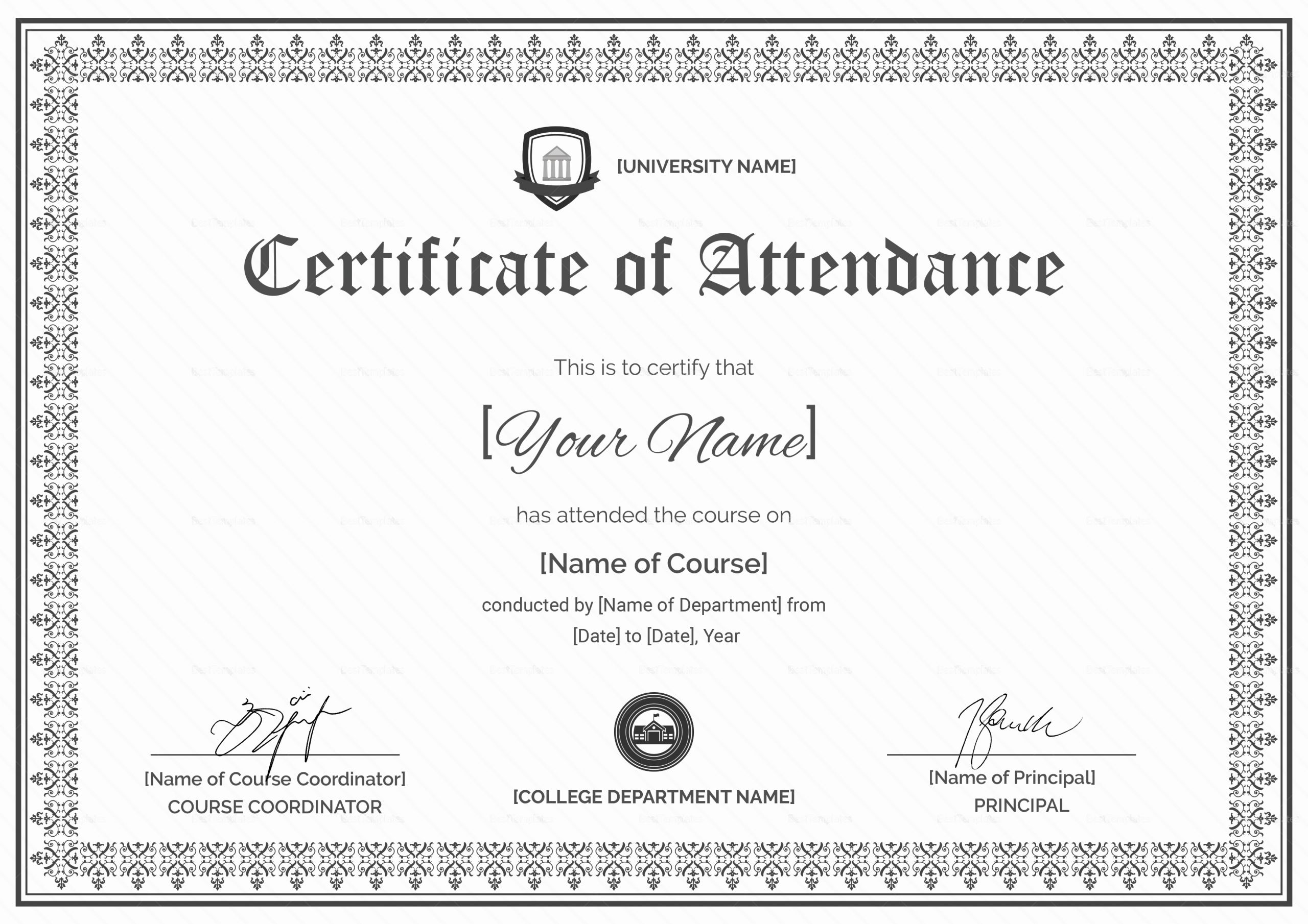 Certificate Of attendance Template Free New Course attendance Certificate Design Template In Psd Word