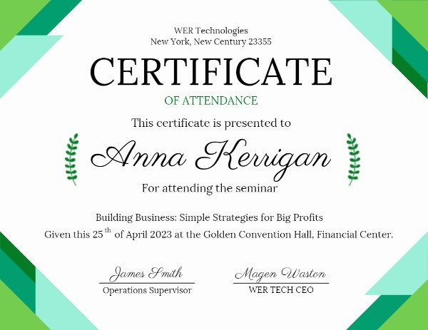 Certificate Of attendance Template Free New Line Green Basic Shape Certificate attendance