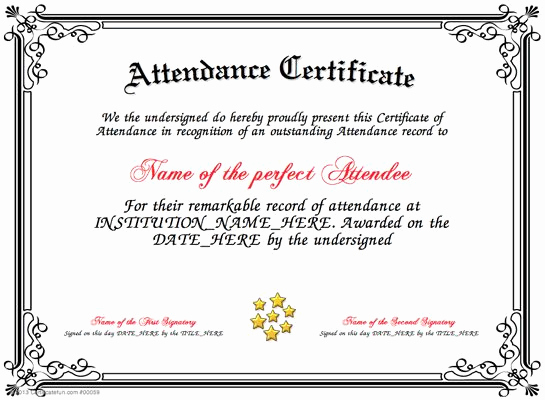 Certificate Of attendance Template Free Unique attendance Present An attendance Certificate to A Person