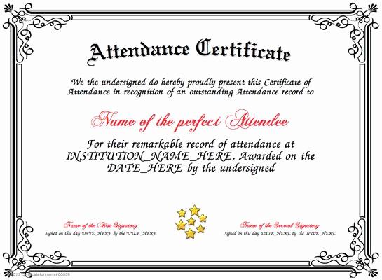 Certificate Of attendance Template Free Unique attendance Present An attendance Certificate to A Person