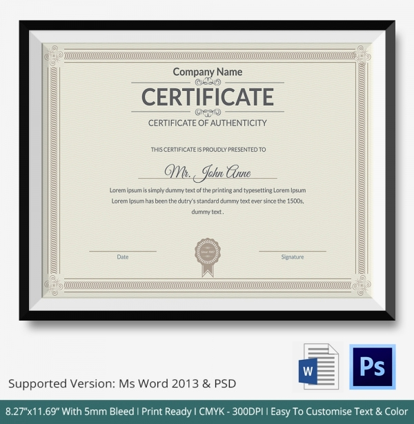 Certificate Of Authenticity Photography Template Awesome Certificate Of Authenticity Template 27 Free Word Pdf