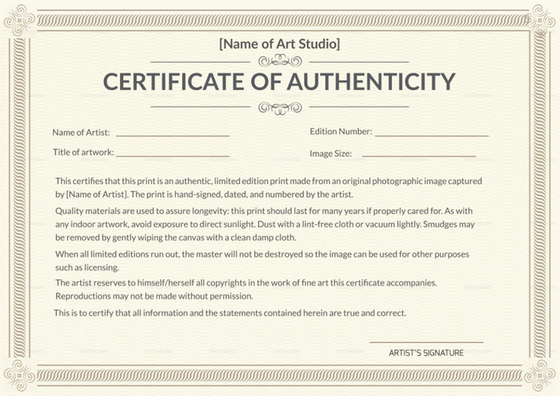 Certificate Of Authenticity Photography Template Beautiful why is Having A Certificate Of Authenticity Essential In