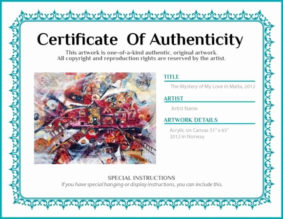 Certificate Of Authenticity Photography Template Best Of 37 Certificate Of Authenticity Templates Art Car