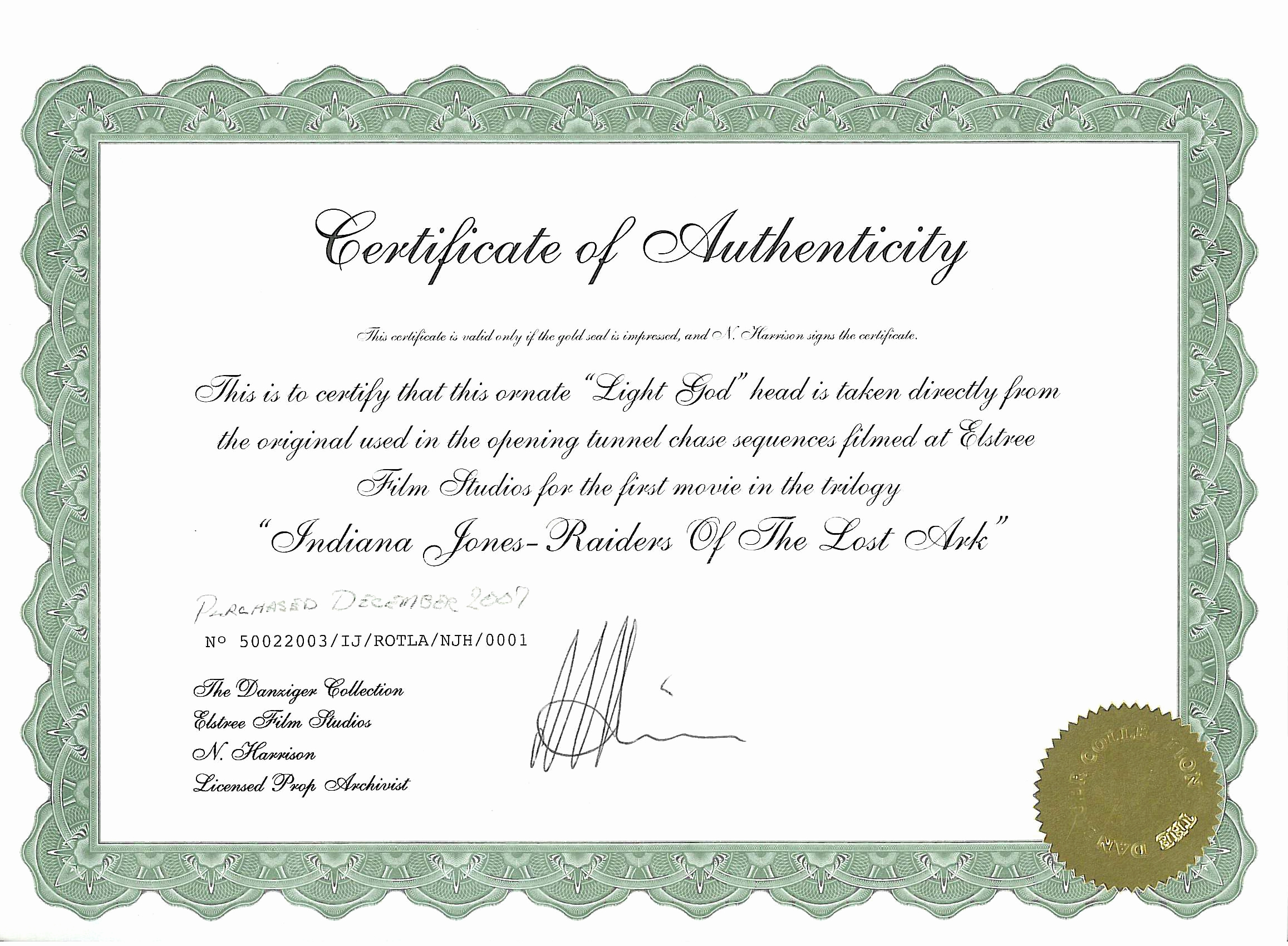 Certificate Of Authenticity Photography Template Fresh Elstree Props Fertility Idols Light Gods Danziger