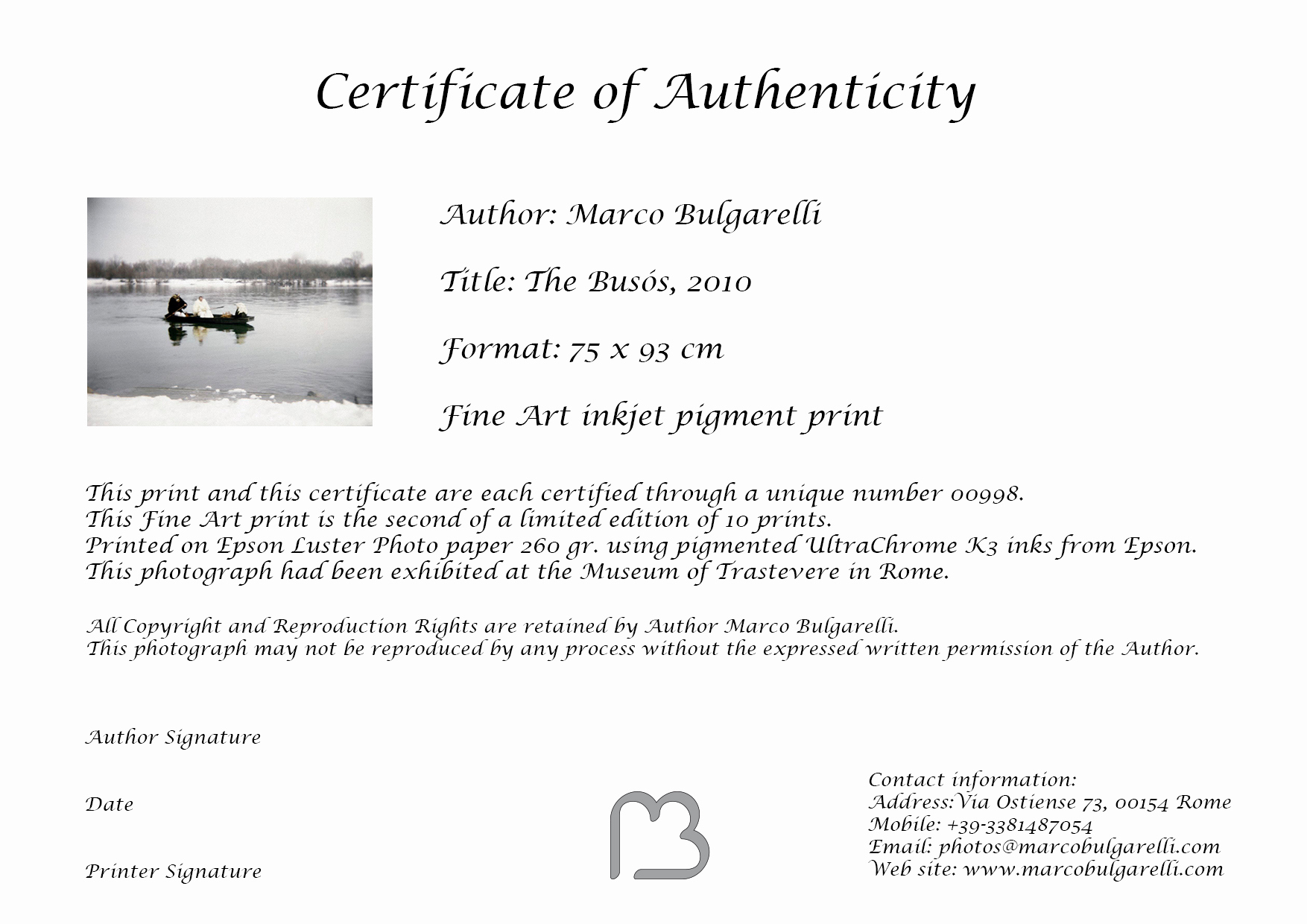 Certificate Of Authenticity Photography Template Fresh Rome Black and White Photography Marco Bulgarelli Fine