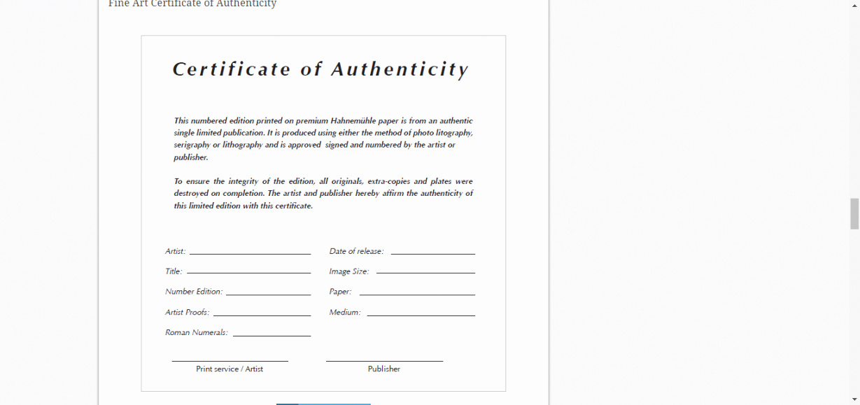 Certificate Of Authenticity Photography Template Inspirational Certificate Authenticity Template for Fine Art