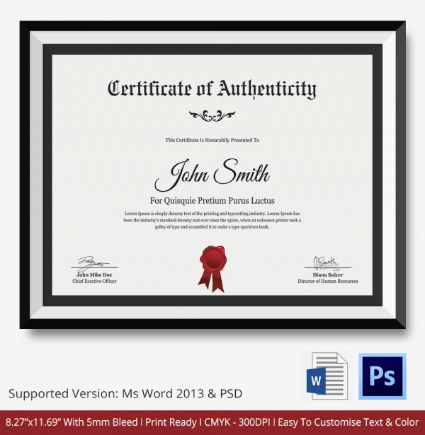 Certificate Of Authenticity Photography Template Inspirational Certificate Of Authenticity Template 27 Free Word Pdf