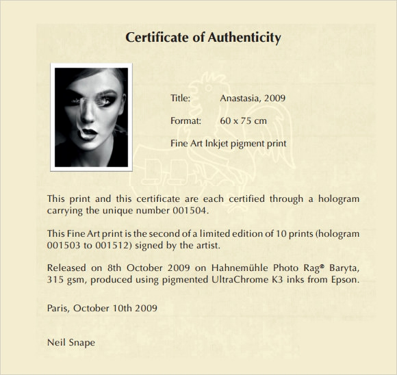 Certificate Of Authenticity Photography Template Inspirational Free 45 Sample Certificate Of Authenticity Templates In