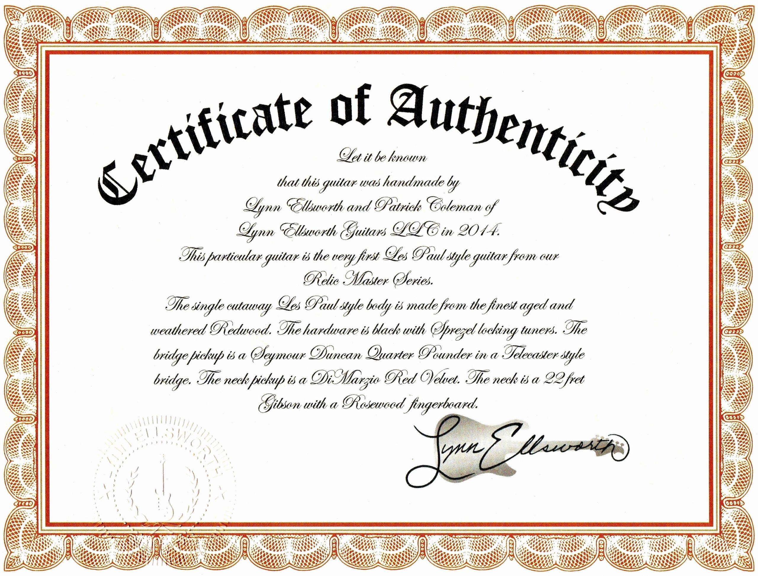 Certificate Of Authenticity Photography Template Inspirational Sample Certificate Authenticity Graphy Best