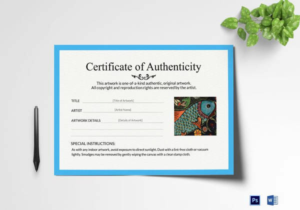 Certificate Of Authenticity Photography Template Lovely Certificate Of Authenticity Template 19 Free Word Pdf