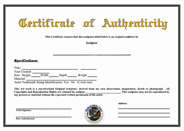 Certificate Of Authenticity Photography Template Unique Certificate Of Authenticity Template Of Certificate Of