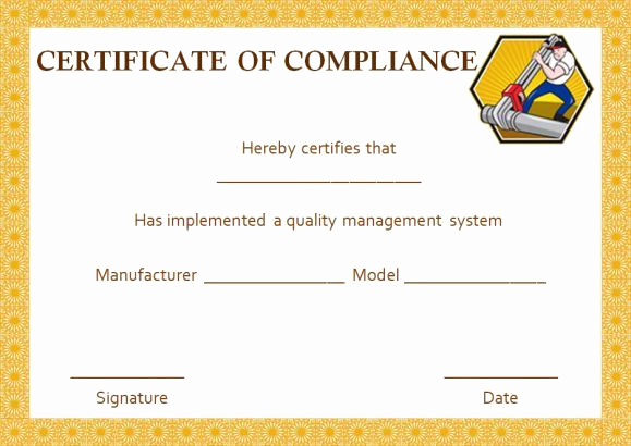 Certificate Of Compliance Template Beautiful Plumbing Certificate Of Pliance Template