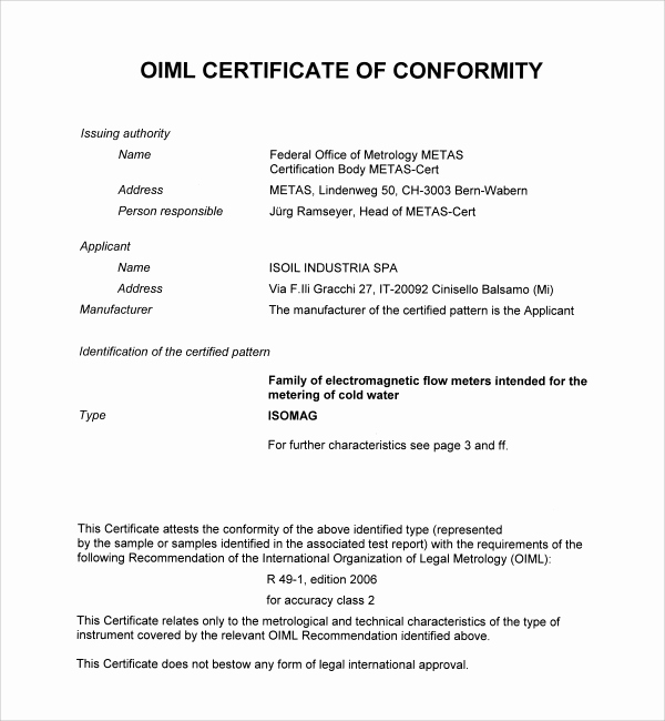 conformity certificate template