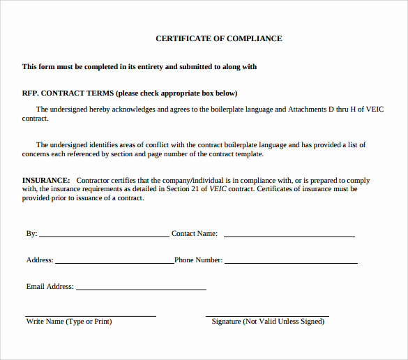 Certificate Of Compliance Template Lovely Free 25 Sample Certificate Of Pliance In Pdf