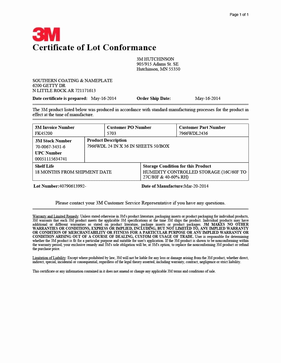 Certificate Of Compliance Template Luxury Certificate Of Conformance S Sample Template Pdf