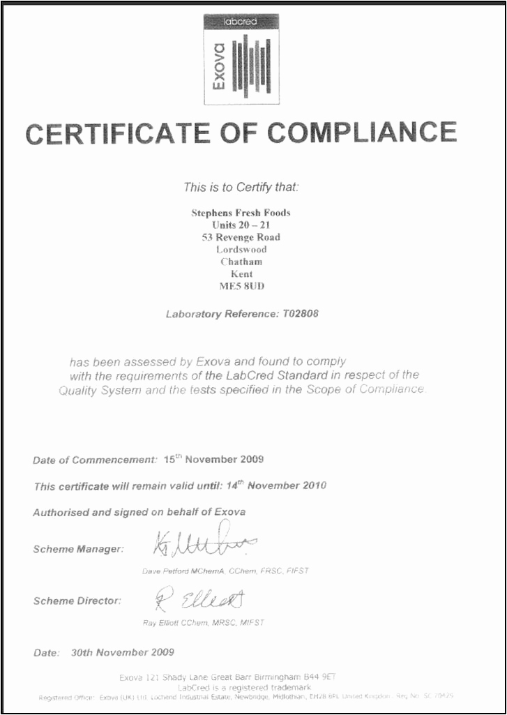 Certificate Of Compliance Template Unique Certificate Templates Certificate Of Pliance U2013