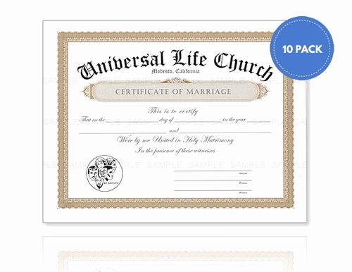 Certificate Of Life Template Luxury Marriage Certificate 10 Pack