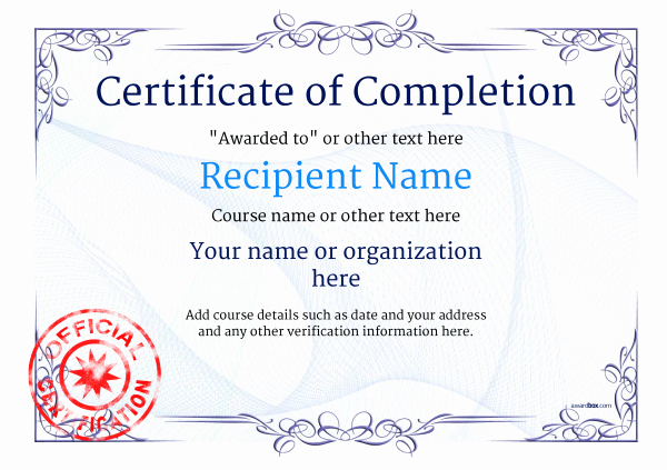 Certificates Of Completion Template Awesome Certificate Of Pletion Free Quality Printable