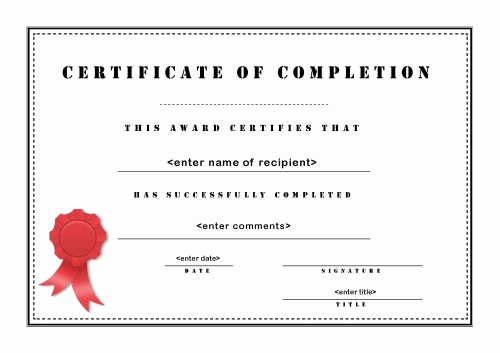 Certificates Of Completion Template Beautiful 13 Certificate Of Pletion Templates Excel Pdf formats