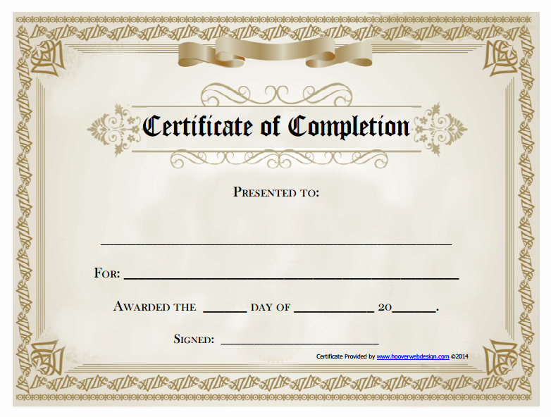 Certificates Of Completion Template Beautiful 18 Free Certificate Of Pletion Templates