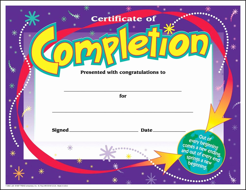 Certificates Of Completion Template Beautiful 30 Certificates Of Pletion Large Certificate Award