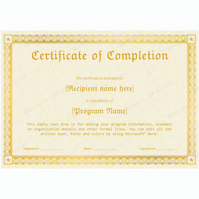 Certificates Of Completion Template Best Of 89 Elegant Award Certificates for Business and School events