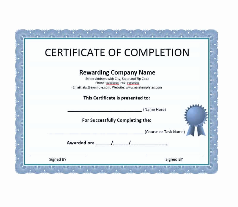 Certificates Of Completion Template Best Of Certificate Of Pletion Sample Editable Msword Document