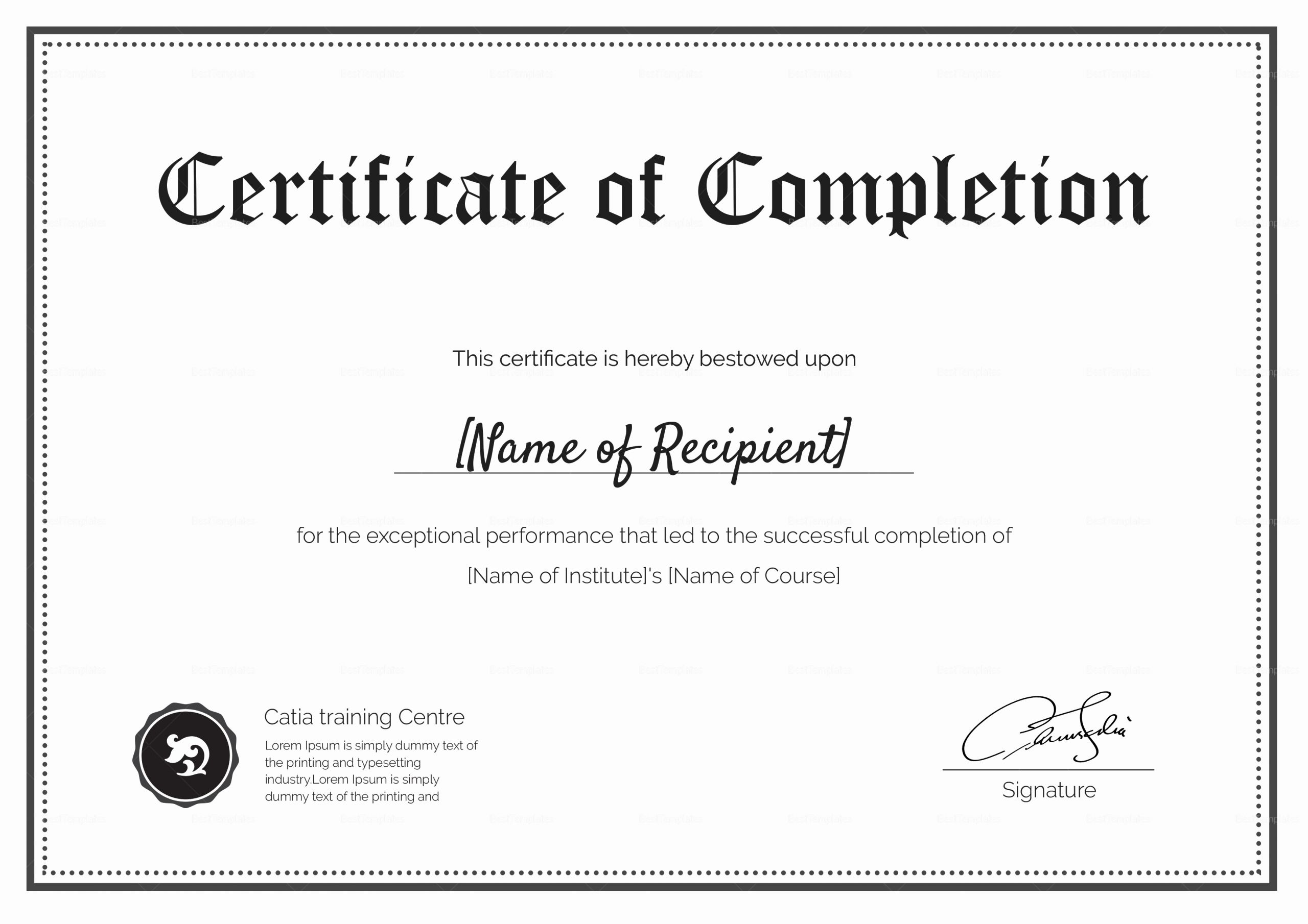 Certificates Of Completion Template Fresh Blank Pletion Certificate Design Template In Psd Word