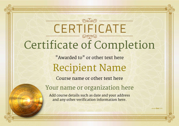 Certificates Of Completion Template Fresh Certificate Of Pletion Free Quality Printable